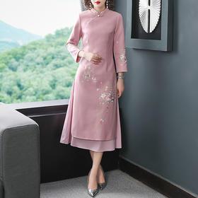 刺绣中国风,修身显瘦毛呢连衣裙YFN-19311