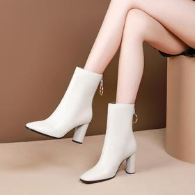 方头粗跟,时尚加绒真皮高跟短靴OLD-L8186