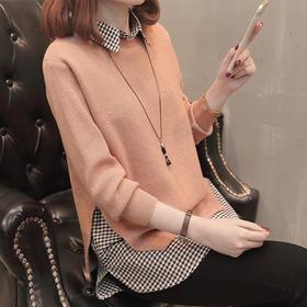 WLFZ20-4新款韩版宽松衣领针织衫两件套TZF