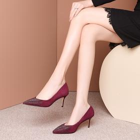 时尚绒面,羊皮水钻浅口细跟高跟鞋OLD-L9188