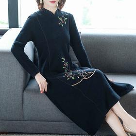 NYL-4650803秋冬新款时尚旗袍改良版中国风长袖打底过膝裙子