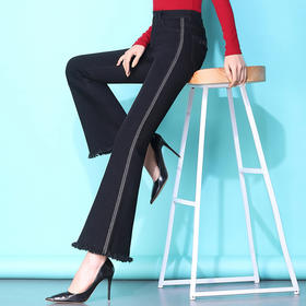 时尚修身,侧边条九分毛边微喇牛仔裤PXSJ-LB1905