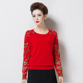 百搭显瘦,印花针织套头羊毛衫WY-69197