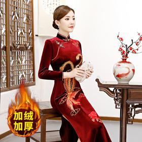 QQ-9266冬加绒保暖加厚金丝绒长款刺绣复古修身立领旗袍连衣裙