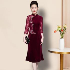 JS-QL8282秋季新款高档婚宴喜庆珠片蕾丝拼接连衣裙