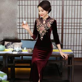 端庄大气,高档金丝绒刺绣婚宴礼服旗袍YZL-655#