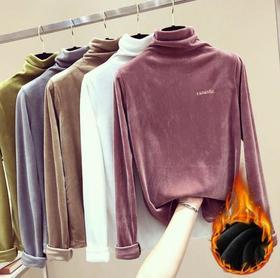 【打底衫】双面绒卫衣女冬季新款韩版百搭长袖高领打底衫+200积分