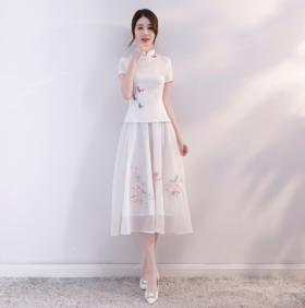 【年终亏本清仓】BJ180155改良时尚民族风雪纺刺绣旗袍裙TZW