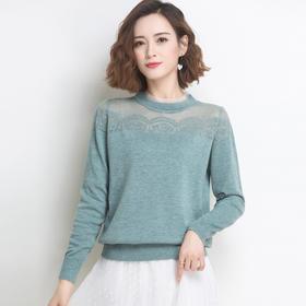 时尚百搭,圆领镂空针织短款蕾丝拼接上衣YKYM-037-2035