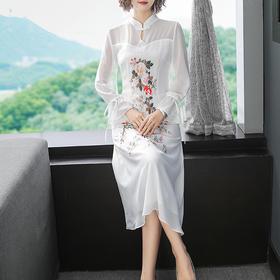 简约民国风,长款气质中式碎花刺绣连衣裙YFN-19501