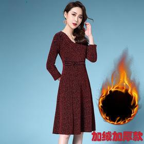 DYSL-Q5216欧美新款交叉V领高贵气质礼服收腰显瘦大码连衣裙