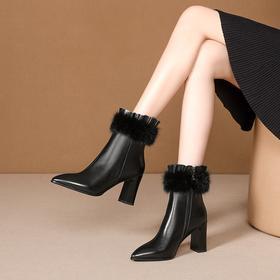 时尚简约,加绒尖头高跟牛皮短靴OLD-D199