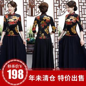 AQX19新款艾旗绣复古改良丝绒旗袍套装TZF