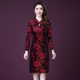 YM-8253新款中国风长袖旗袍连衣裙