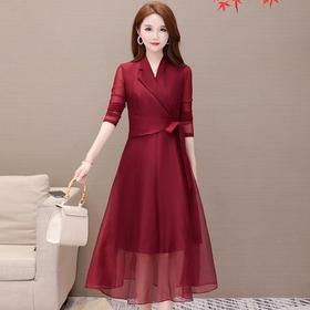 韩版修身,V领网纱拼接连衣裙YW-KED-93A01
