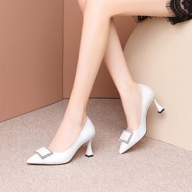 气质真皮,浅口方扣细跟高跟鞋OLD-L9181