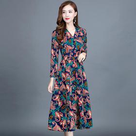 气质高贵,阔太太长袖连衣裙YW-KED-93A37