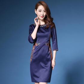 DYSL-Q3266新款修身显瘦名媛气质中国民族风刺绣连衣裙