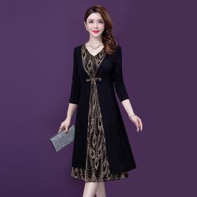 YM-8266新款气质显瘦大码长款假两件修身洋气长袖连衣裙