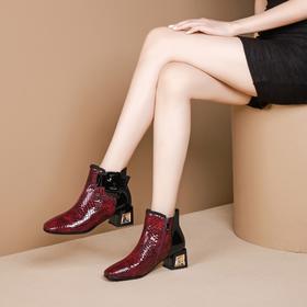 舒适百搭,方头漆皮粗跟短靴OLD-782