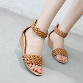 QXXC-C2021新款度假罗马风格编织坡跟凉鞋TZF