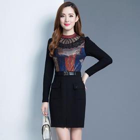 韩版修身,时尚长袖印花中长款连衣裙YW-XH7450