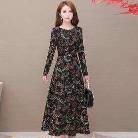 气质减龄,加绒加厚印花连衣裙YW-KED91183