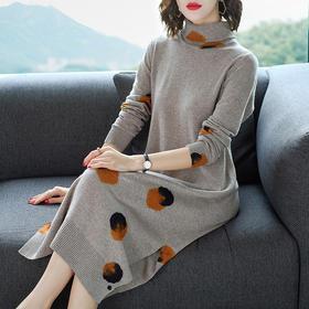 宽松打底,纯羊毛长袖针织连衣裙YKYM-030-83117