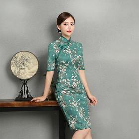 修身典雅,复古中式改良麂皮绒旗袍TX-346