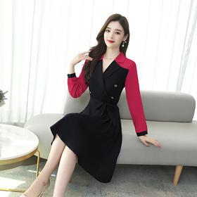 【寒冰紫雨】新款西装领裙子 新品撞色连衣裙  AAA7683