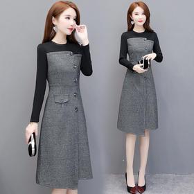 气质优雅,加厚长袖连衣裙YW-YJY-19K37