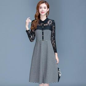 韩版修身,娃娃领减龄格子蕾丝拼接连衣裙YW-KED-96A021