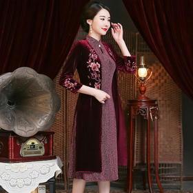 气质高端刺绣,妈妈装连衣裙套装YZL-962#