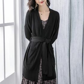 宽松休闲,中长款韩版系带针织开衫YKYM-042-5731