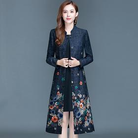 韩版修身,中长款时尚气质印花大码风衣外套YW-KED-91158