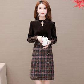 修身减龄,加厚格子金丝绒连衣裙YW-JLNH-AMA82