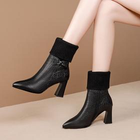 时尚百搭,侧拉链高跟蝴蝶结中筒靴OLD-799