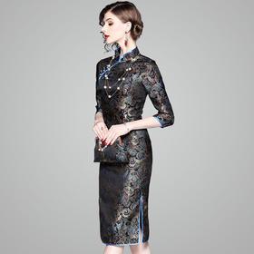 时尚高端,提花修身包臀中长款连衣裙OY-80951
