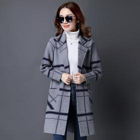 韩版休闲,大码中长款针织开衫外套YKYM-088-8009