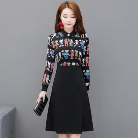 气质减龄,中长款印花连衣裙YW-KED96A030