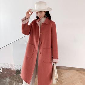 宽松时尚,韩版中长款双面呢子大衣外套KYF-MYIE2056