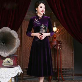 复古中国风,金丝绒优雅大码旗袍YZL-952
