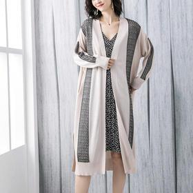 时尚百搭,印花开叉中长款针织开衫外套YKYM-042-5732