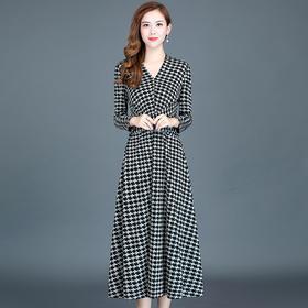 修身显瘦,韩版气质千鸟格连衣裙YW-KED-93A40