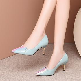 牛皮浅口,小清新拼色高跟鞋OLD-L9167