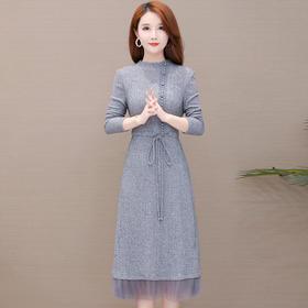 气质减龄,针织网纱连衣裙YW-TYH93947