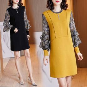 NYL-4690093新款韩版时尚洋气假两件圆领大码胖mm印花连衣裙