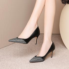 欧美时尚真皮,浅口高跟鞋OLD-9197