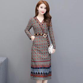 韩版修身,气质高贵印花连衣裙YW-KED-93A65