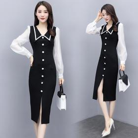 时尚简约,拼接修身减龄连衣裙CQ-MYYS8803